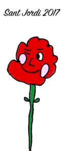 Rosa dibujada que guiña un ojo