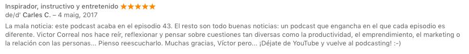 """Captura de reseña en iTunes en """"No es asunto vuestro"""""""